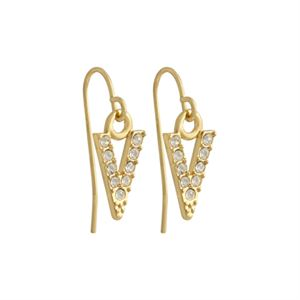 "Picture of Gold Crystal ""V"" Earrings"